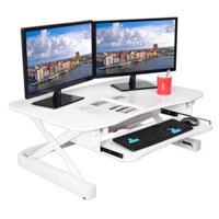 """ApexDesk ZT Series Height Adjustable Sit to Stand Electric Desk Converter, 2-Tier Design with Large 36x24"""" Upper Work Surface and Lower Keyboard Tray Deck (Black)"""