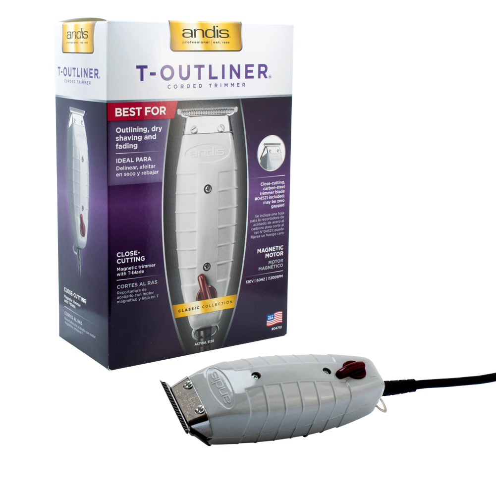 Andis T-Outliner Trimmer Barber Shop Hair Cut Salon Clipper Outline Fade, GREY, 4710