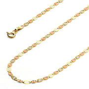"""Wellingsale 14k Tri 3 Color Gold Polished Solid 3mm Flat Valentino Star Diamond Cut Chain Necklace - 24"""""""