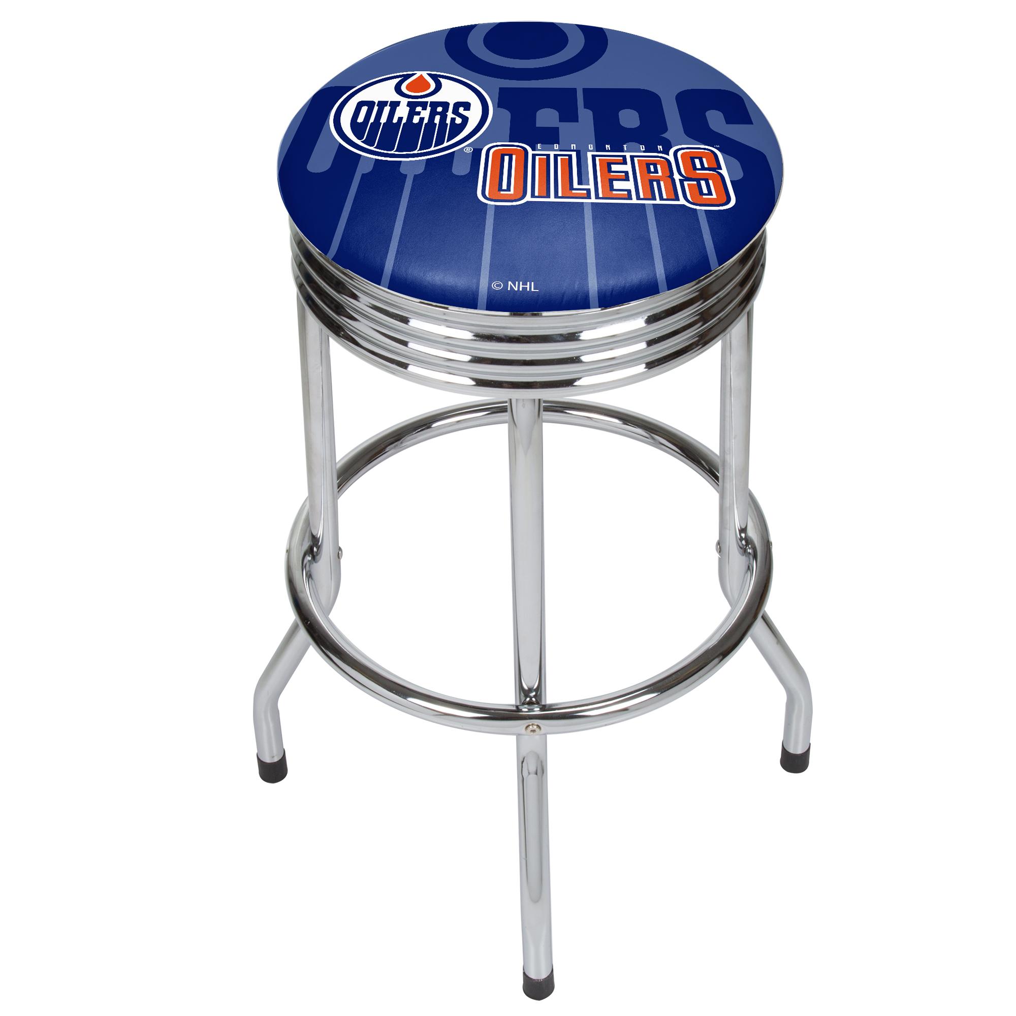 NHL Chrome Ribbed Bar Stool - Edmonton Oilers