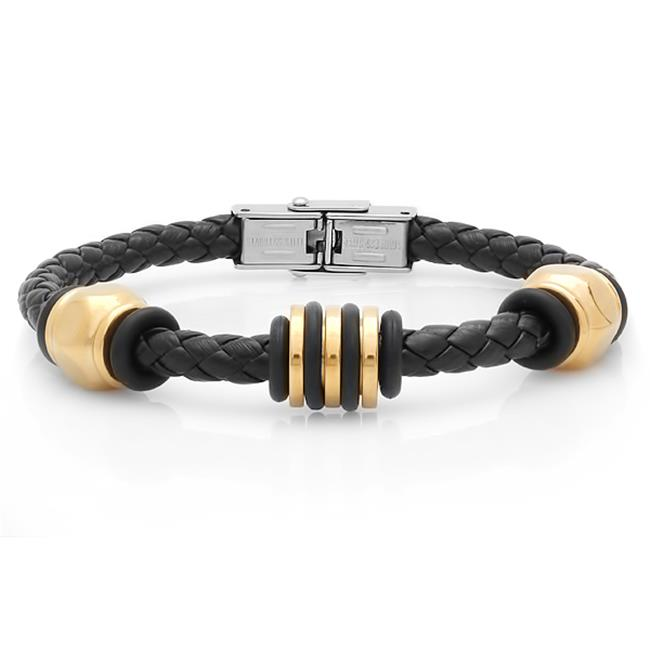 Genuine Black Leather Bracelet, 18K Gold Plated Ring Accent