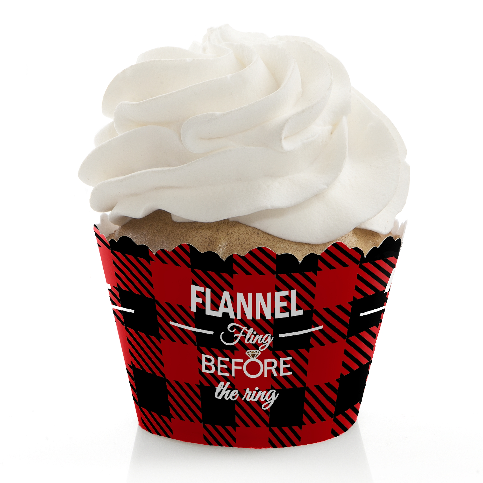 Flannel Fling Before The Ring - Buffalo Plaid Bachelorette Party Cupcake Wrappers - Set of 12