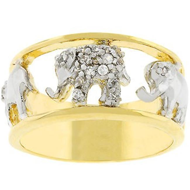 Sunrise Wholesale J2463 14k Gold and White Gold Rhodium Bonded with Pave Elephant Ring - Size 06