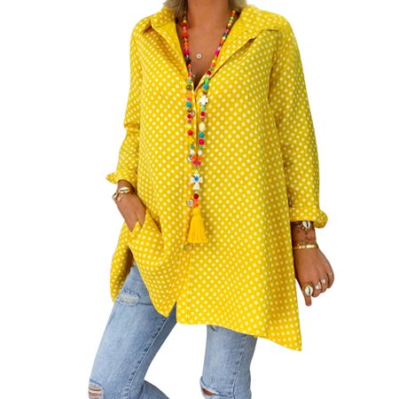 Plus Size Tunic Blouse for Women Roll Up Sleeve Casual Polka Dot Shirt Oversized Tops Buttons Down Neck T-Shirt Loose Baggy Shirt Yellow S = US (Polka Dot Tunic Outfit)