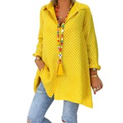 Plus Size Tunic Blouse for Women Roll Up Sleeve Casual Polka Dot Shirt Oversized Tops Buttons Down Neck T-Shirt Loose Baggy Shirt Yellow S = US 8