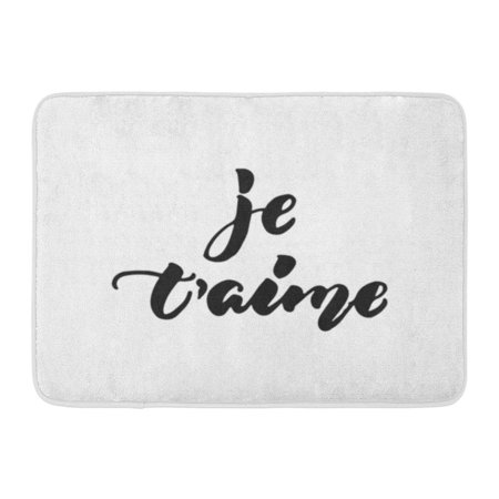 Welcome Phrases Mini - GODPOK Je T'Aime I Love You in French Lettering Phrase The White Fun Brush Ink Inscription for Overlays Design Rug Doormat Bath Mat 23.6x15.7 inch