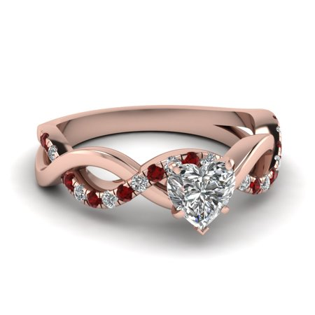 3/4 Carat Heart Shaped Diamond & Ruby French Pave Engagement Ring In Solid 14K Pink Gold GIA