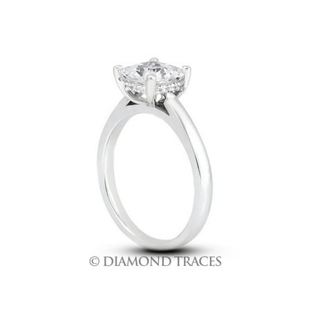 1.16ctw I-SI1 Ideal Cut Princess Genuine Diamonds 14k Gold Cathedral Ring 2.4mm