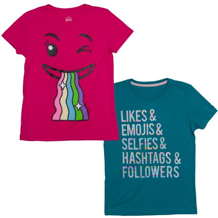 aebdcafb Likes and Rainbow Emoji T-Shirts, 2-Pack Set (Little Girls & Big ...