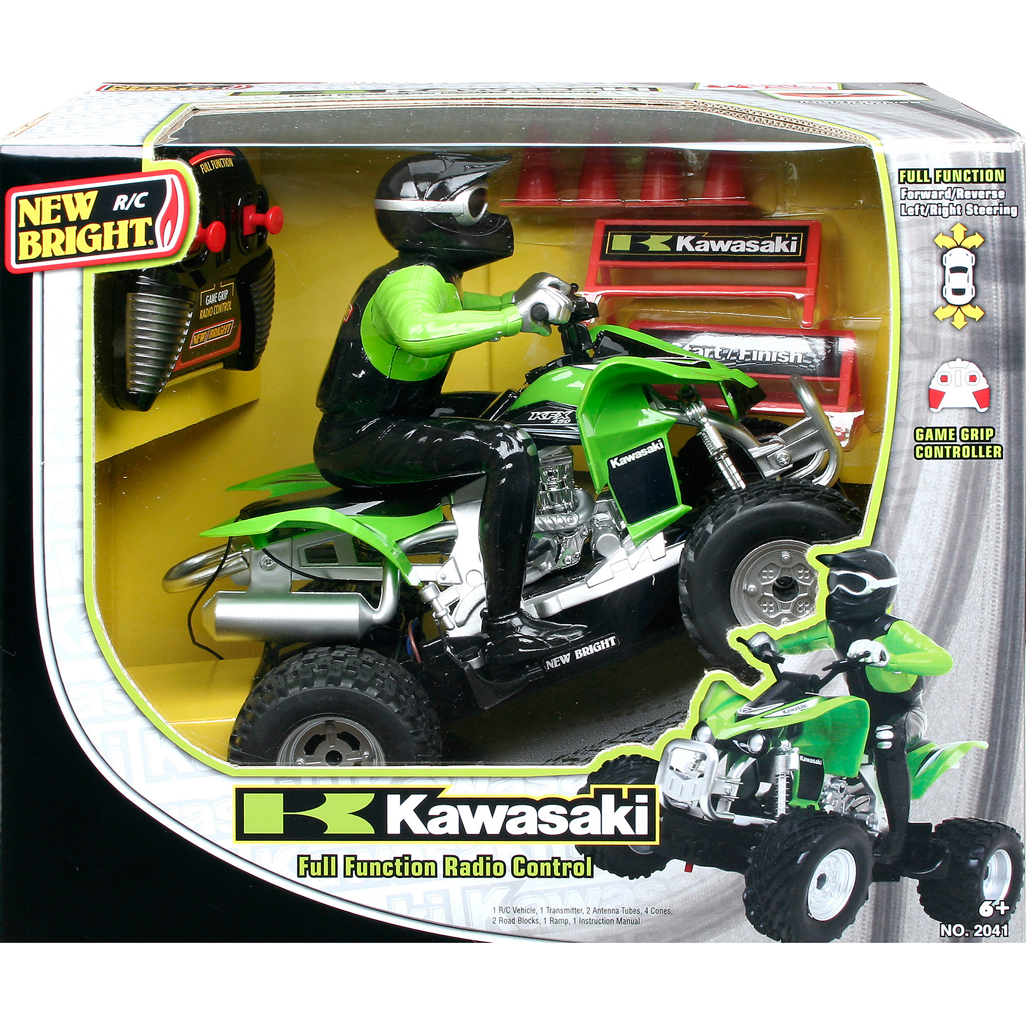 New Bright 1:20 R/C Kawasaki KFX 450 with Rider, Green