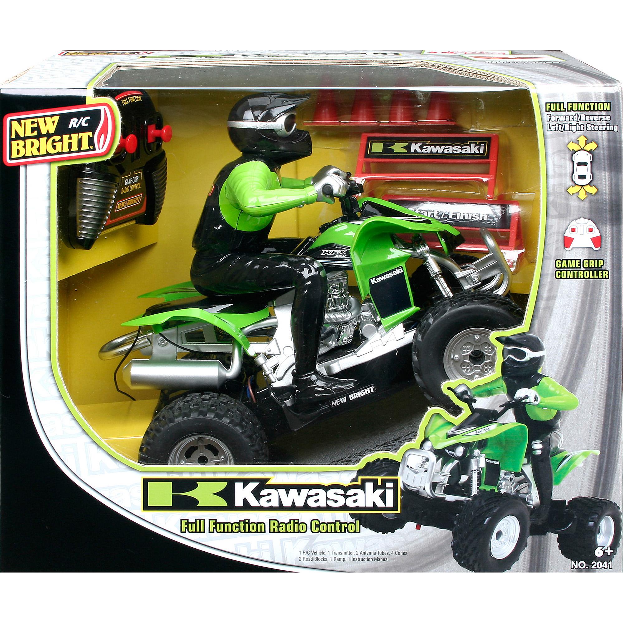 New Bright 1:20 R/C Kawasaki KFX 450 with Rider, Green