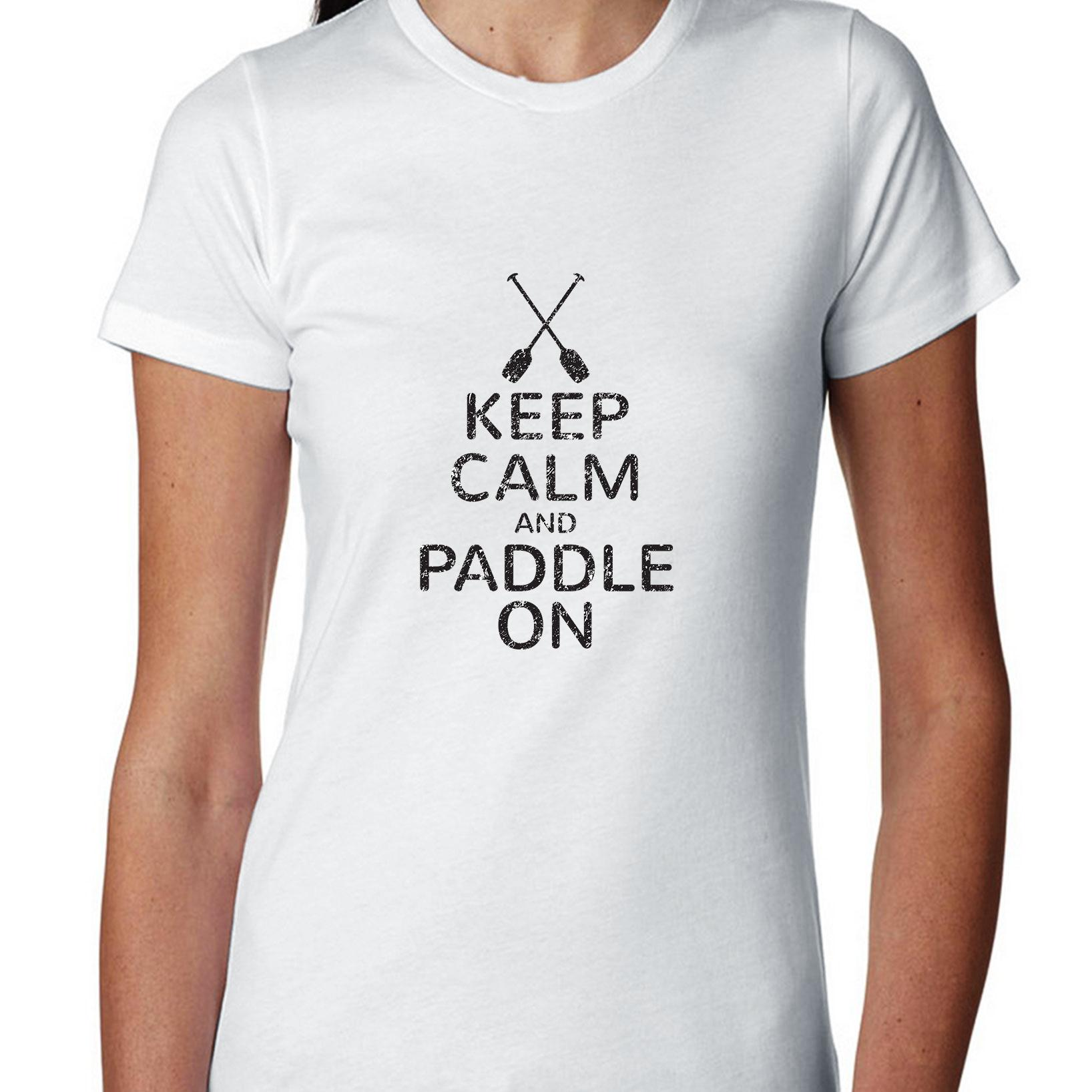 Keep Calm And Paddle On Rowing Kayak Graphic Women's Cotton T-Shirt
