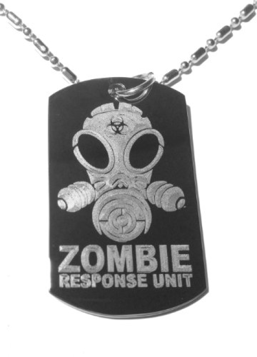 Zombie Response Team Unit Alien Face Gas Mask Biohazard Logo Symbol Military Dog Tag, Luggage Tag Metal Chain Necklace by