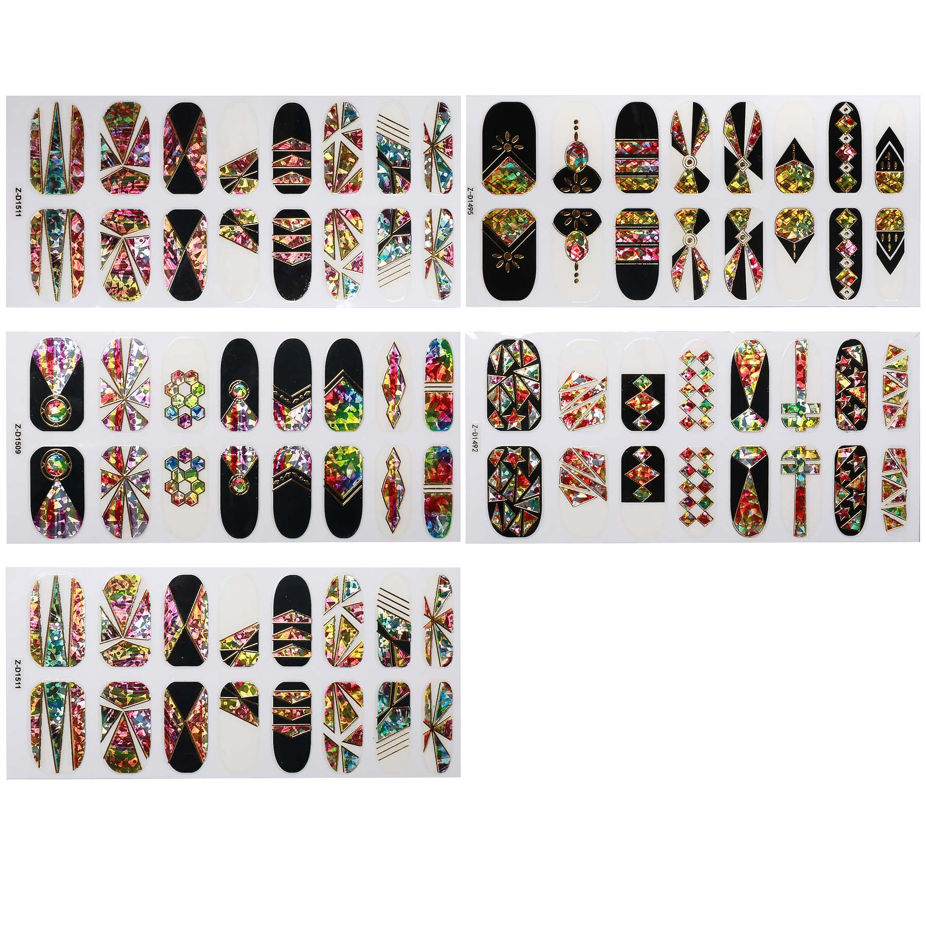 BMC 5 Sheet Multicolor Holographic Negative Space Nail Art Sticker Wraps