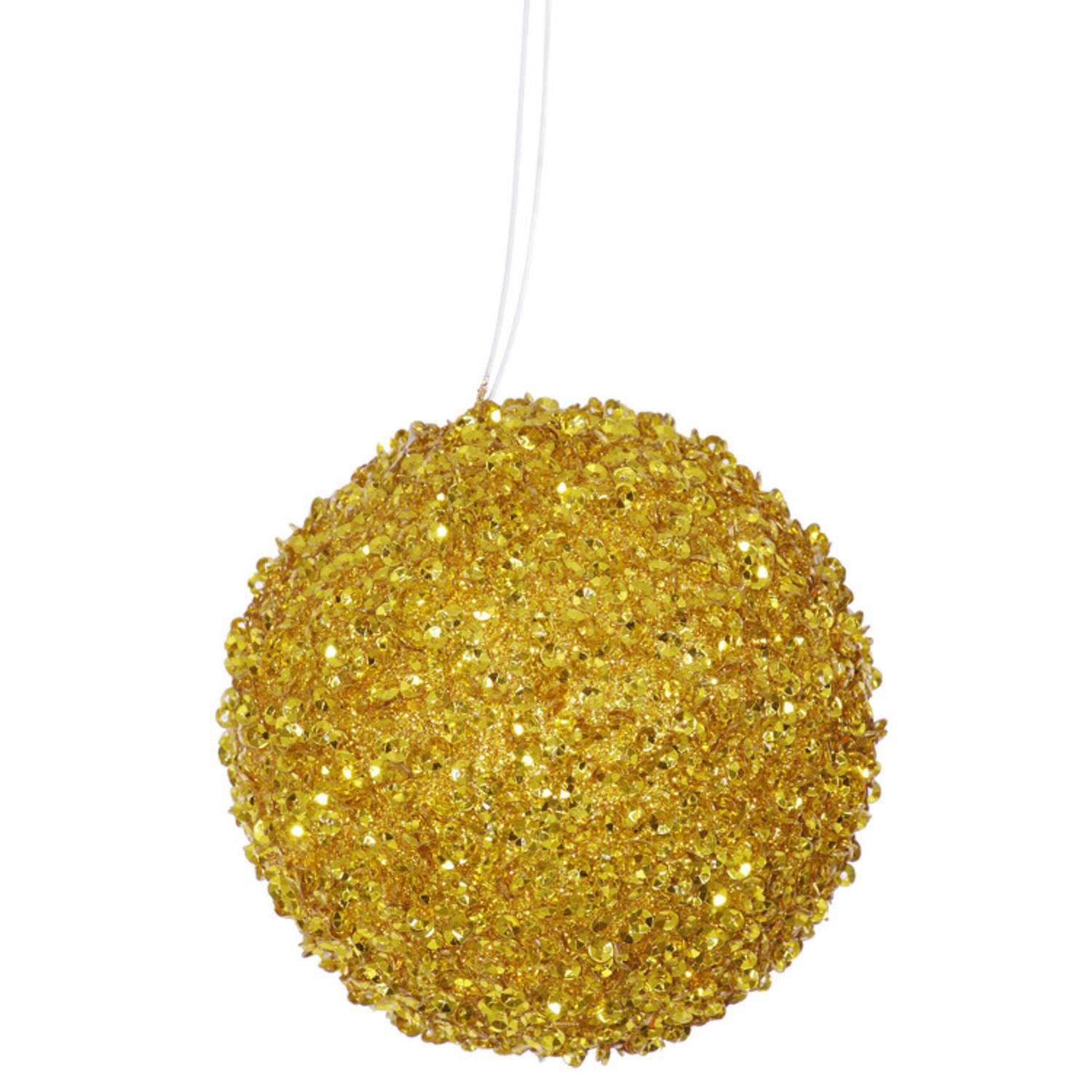 "6ct Antique Gold Sequin and Glitter Drenched Christmas Ball Ornaments 3"" (80mm)"