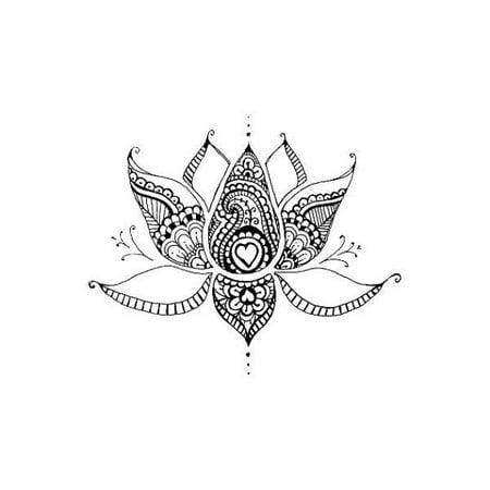 Tattify Lotus Flower With Hearts Temporary Tattoo Sacred Lotus
