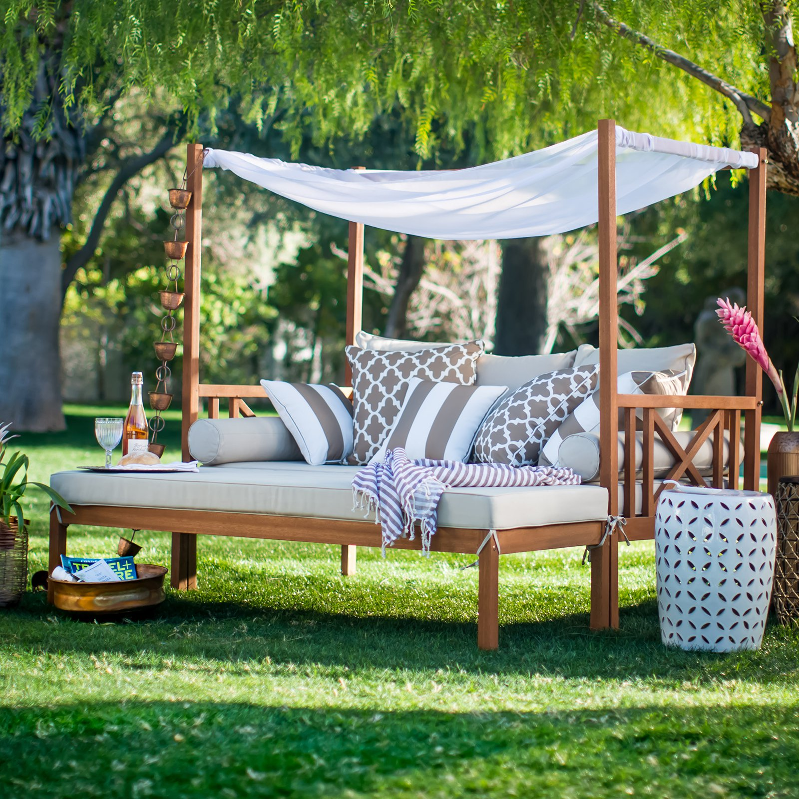 outdoor patio daybed. Belham Living Brighton Outdoor Daybed And Ottoman - Natural Walmart.com Patio A