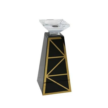Benzara BM154039 Elegant Pillar Shapely Glass Candle Holder, Black & Gold - image 1 de 1