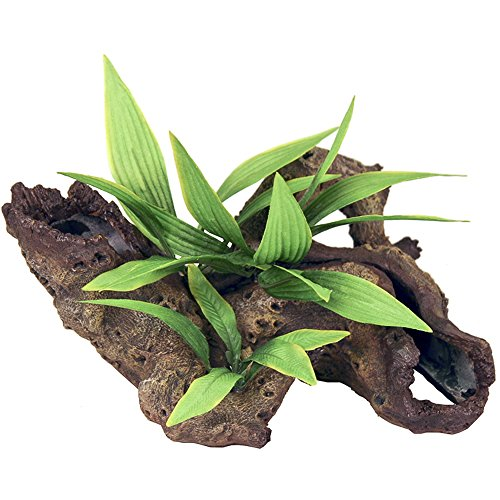 Exotic Environments Mopani Wood With Silk Style Plants Aquarium Ornament Small (Pack of 1)