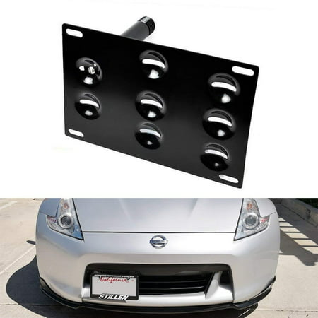 iJDMTOY JDM Style Front Bumper Tow Hole Adapter License Plate Mounting Bracket For Nissan 370Z Juke Rogue Infiniti FX JX QX G37 Q60
