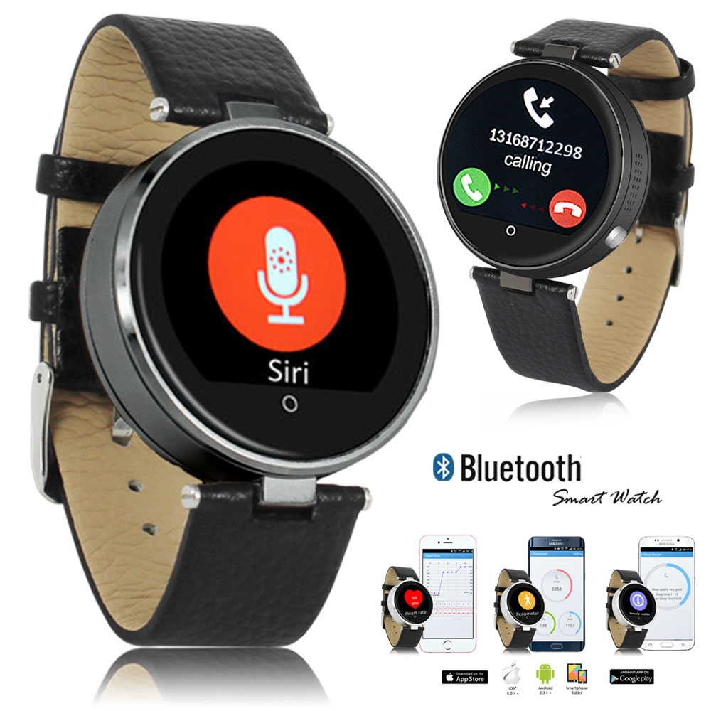Indigi® (Black) H365 Heart Rate Sensor Touch Screen Bluetooth-Sync SmartWatch & Phone w/ SIRI for iOS & Android