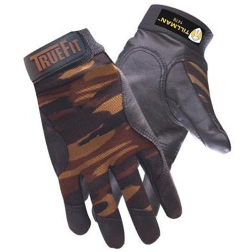 TrueFit Top Grain Cowhide Welders Gloves With Camo Print Nylon Spandex Back And Elastic Cuff With Hook And Loop Closure, Thicker Top grain black Cowhide.., By John Tillman and Co