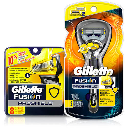 Gillette Fusion ProShield Mens Razor and 10 Refills Bundle / Gift Pack (Save up to $10)