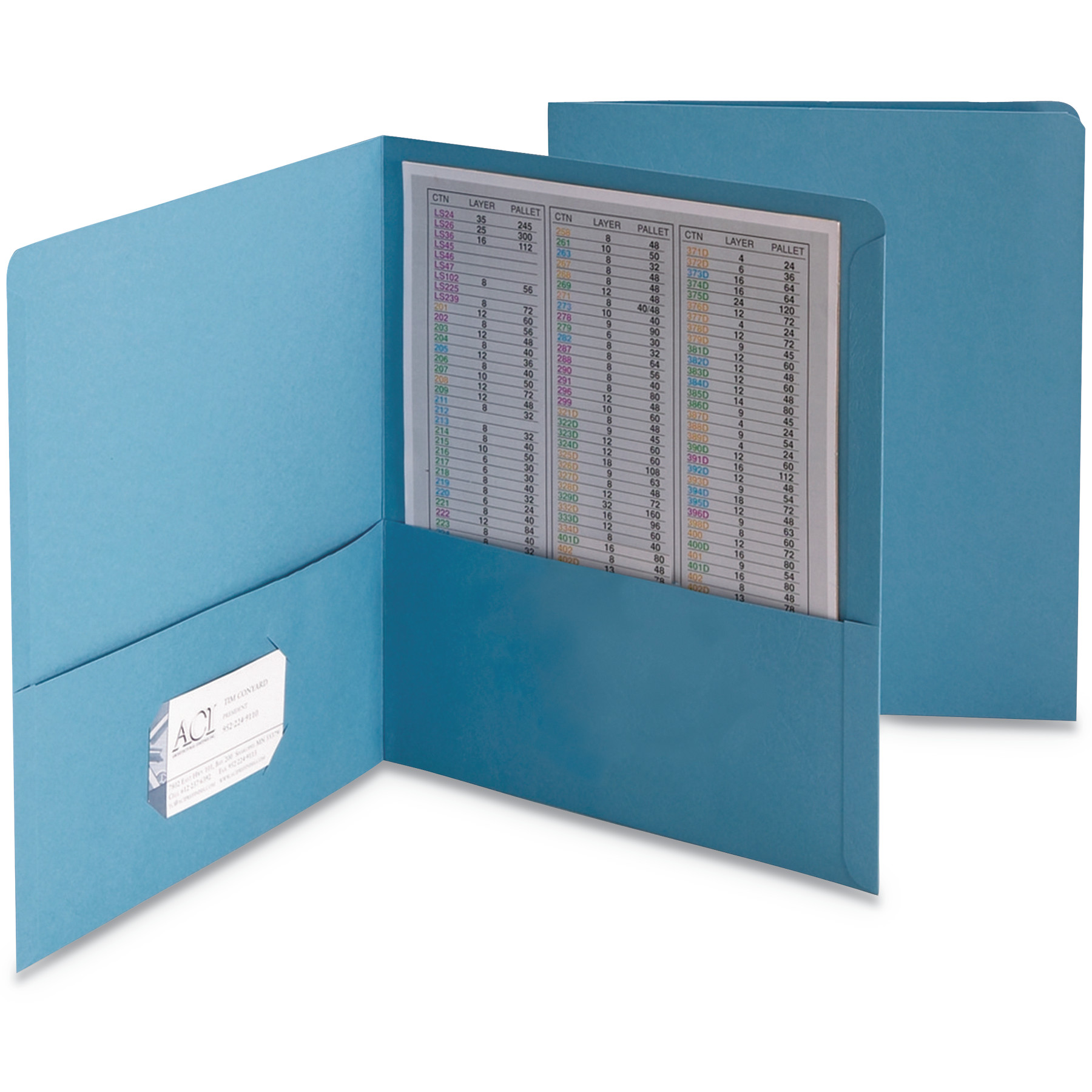 Smead Two-Pocket Folder, Embossed Leather Grain Paper, Blue, 25/Box -SMD87852