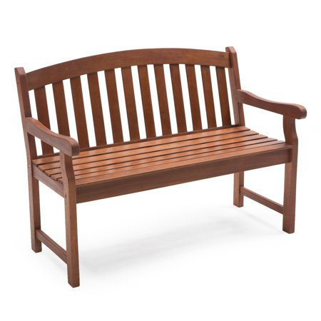 Coral Coast Amherst Curved Back Outdoor Wood Garden Bench - Natural