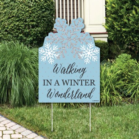- Winter Wonderland - Party Decorations - Snowflake Holiday Party & Winter Wedding Welcome Yard Sign
