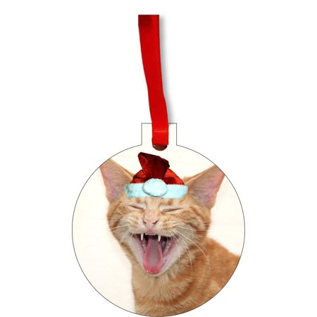 Ornaments Funny Laughing Kitten in a Santa Claus Hat Round Shaped Flat Hardboard Christmas Ornament Tree Decoration - Unique Modern Novelty Tree Décor Favors