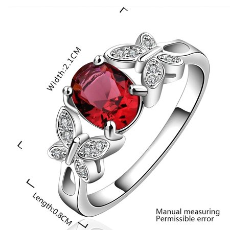 New Arrival 925 Silver Beautiful Ruby Diamond Fashion Band Ring for Women Lady Lovers(Q) - image 2 of 8