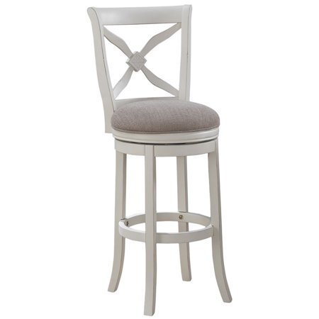 """Bowery Hill 34"""" Swivel Tall Bar Stool in Distressed Antique White"""
