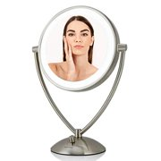 Ovente Tabletop Makeup Vanity Mirror 9.5 Inch with Dimmable LED Lights, 1X10X Magnification, Double-Sided with Distortion-Free View, Battery or USB Adapter Operated, Nickel Brushed (MLT45BR1X10X)