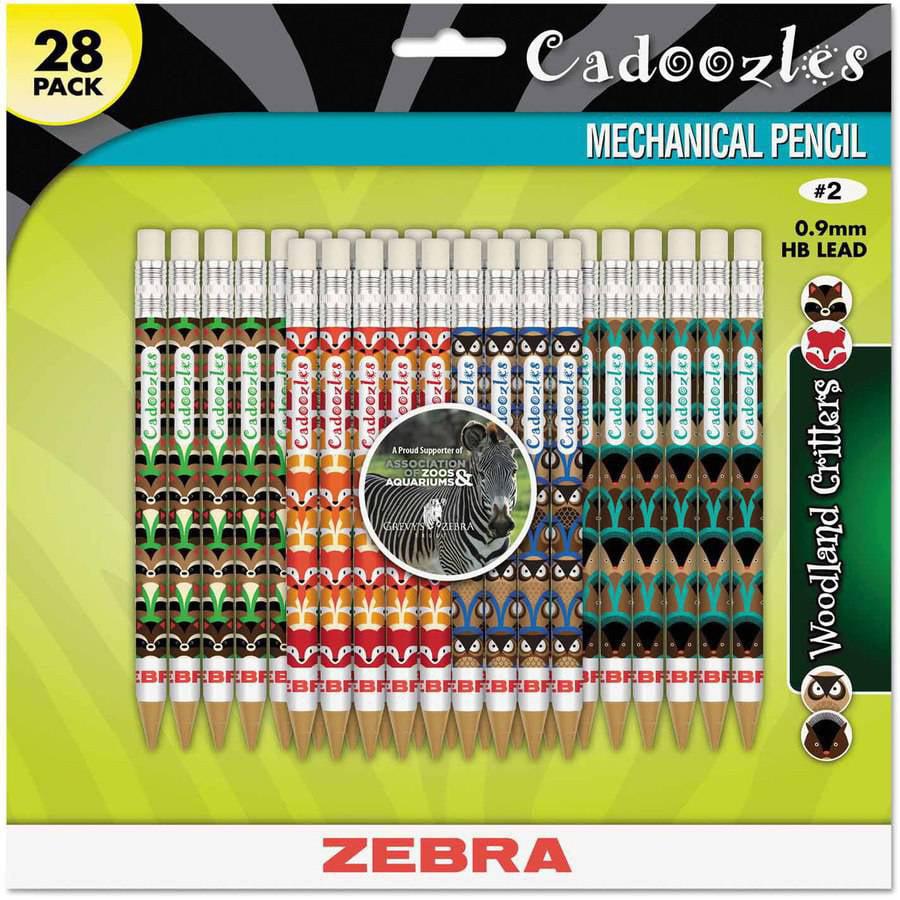 """Zebra Cadoozles Mechanical Pencil, Refillable, #2"""", Assorted Barrels, 0.7mm, 28pk"""