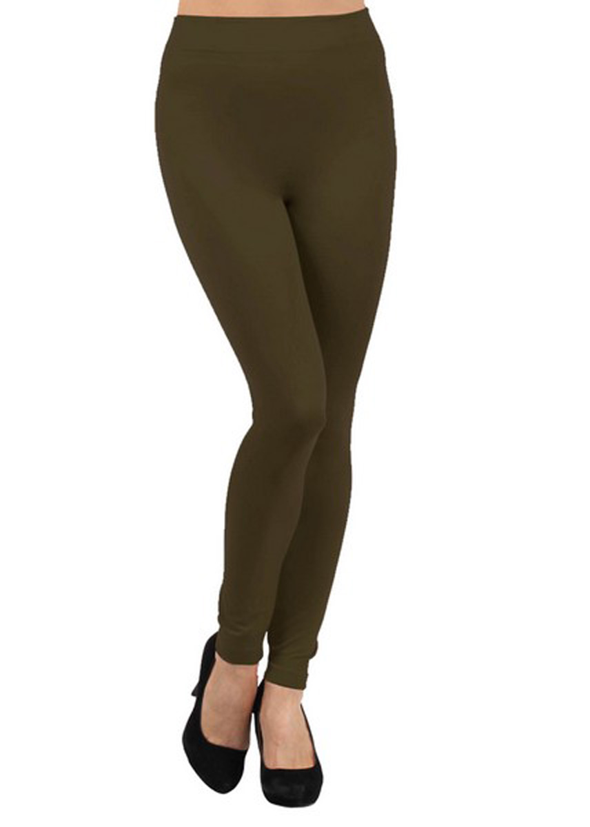 Solid Color Seamless Fleece Lined Legging, Army Green