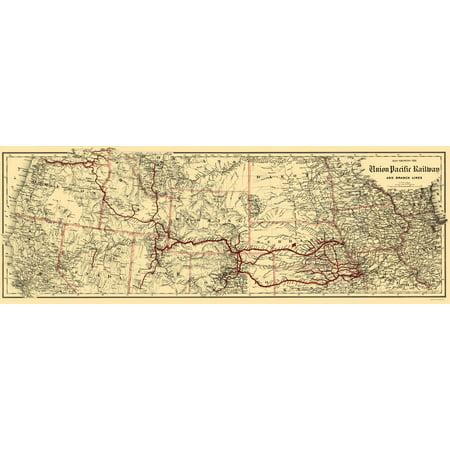(Old Railroad Map - Union Pacific Railway - Colton 1888 - 23 x 65.43)