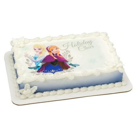 Frozen Elsa & Anna Holiday Cheer 1/4 Sheet Image Cake Topper Edible Birthday Party - Frozen Themed Cake