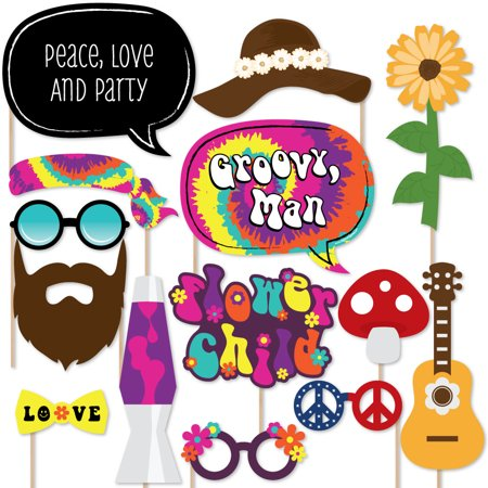 60's Hippie - 1960s Groovy Party Photo Booth Props Kit - 20 Count