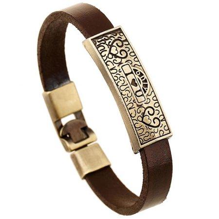 Sonew Fashion Men Woman Faux Cowhide Alloy Pendant Bracelet Simple