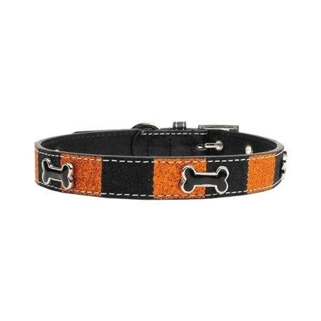 MiragePet Mirage Pet Products Faux Leather Halloween Ice Cream Bone Collar - Large
