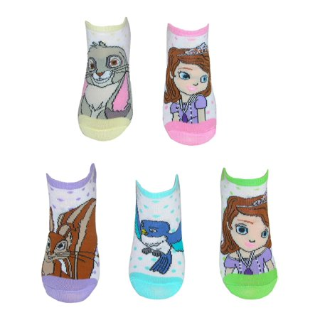 Size Medium 6-8.5 Sofia the First Girl's No Show Socks (5 Pair Pack), Multi - Sofia The Frist