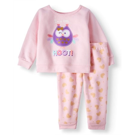 Graphic Sweatshirt & Printed Jogger Pants, 2pc Outfit Set (Baby Girls)