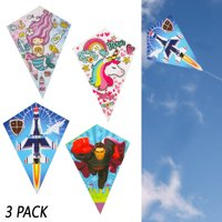 3 Pack Easy Flyer Diamond Kite Fun Kids Beach Park Outdoor Games Plastic Fly Toy