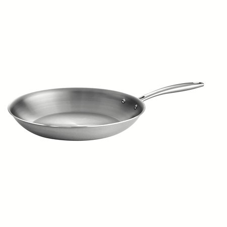 Tramontina 80116/007DS Gourmet Stainless Steel Induction-Ready Tri-Ply Clad Fry Pan, 12-Inch, NSF-Certified, Made in Brazil