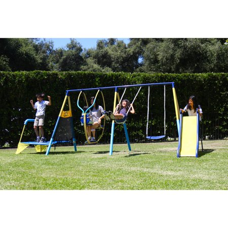 First trampoline swing set metal outdoor play backyard for Trampoline porch swing
