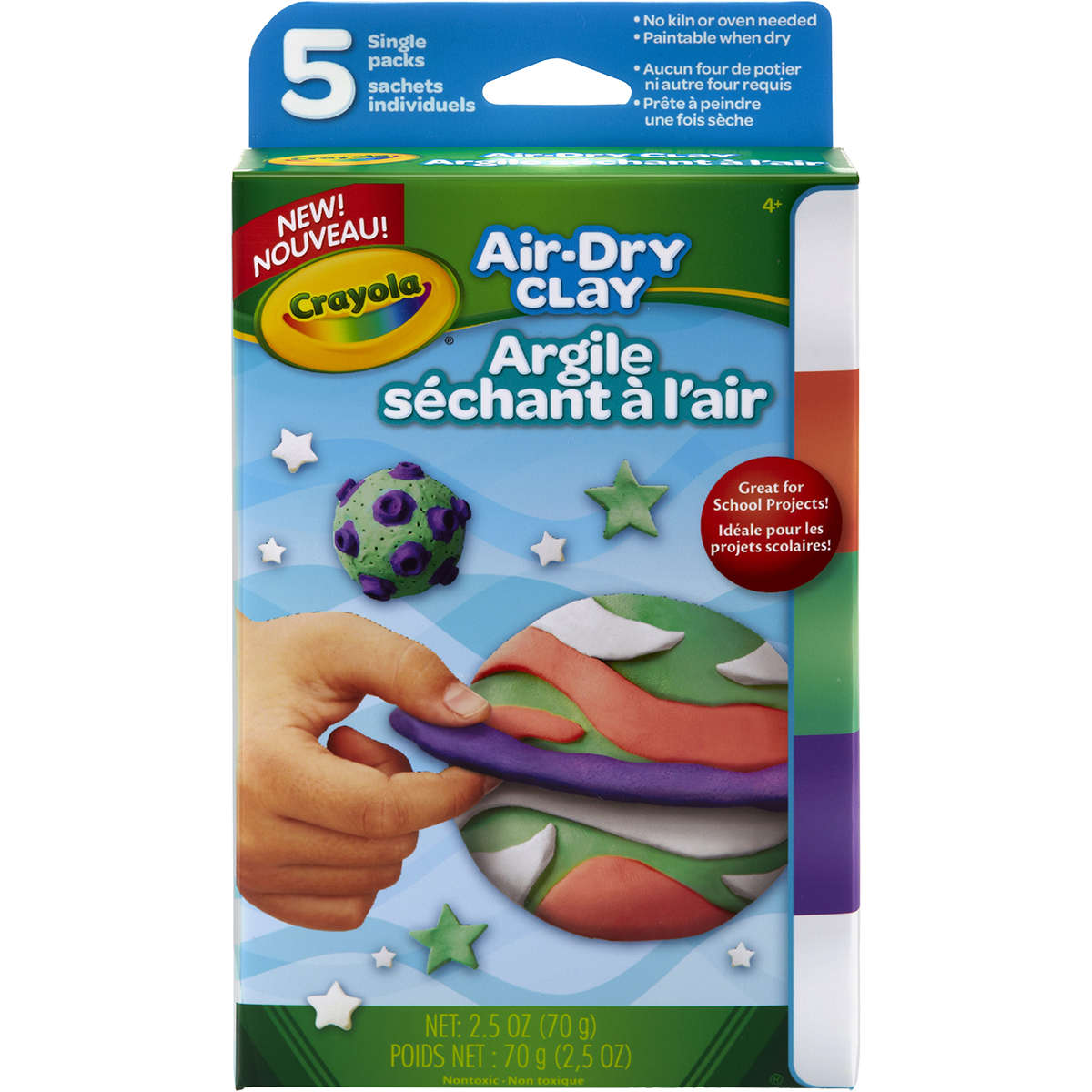Crayola Air-Dry Clay in Bright Colors, No Baking Required, 5 count