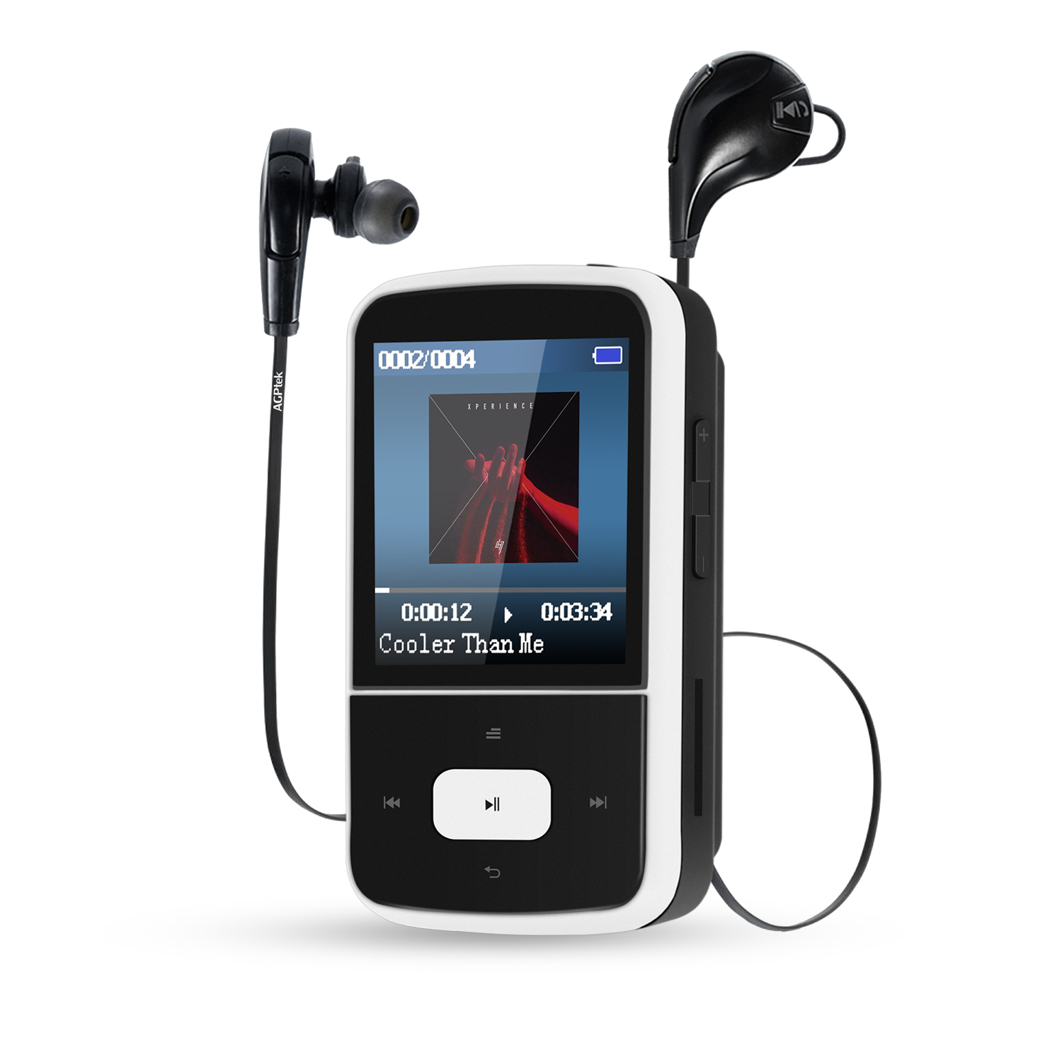 AGPTEK G05S 8GB Clip Bluetooth MP3 Player, Lossless Sound,Supports up to 64GB,with Bluetooth Wireless Headphones, White