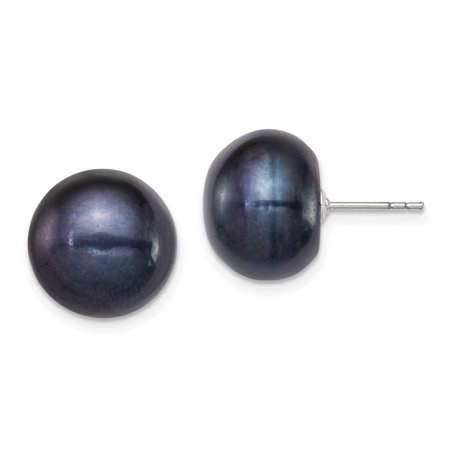 925 Sterling Silver 13mm Black Freshwater Cultured Button Pearl Stud Earrings Ball Gifts For Women For Her 13mm Cultured Freshwater Pearl Button