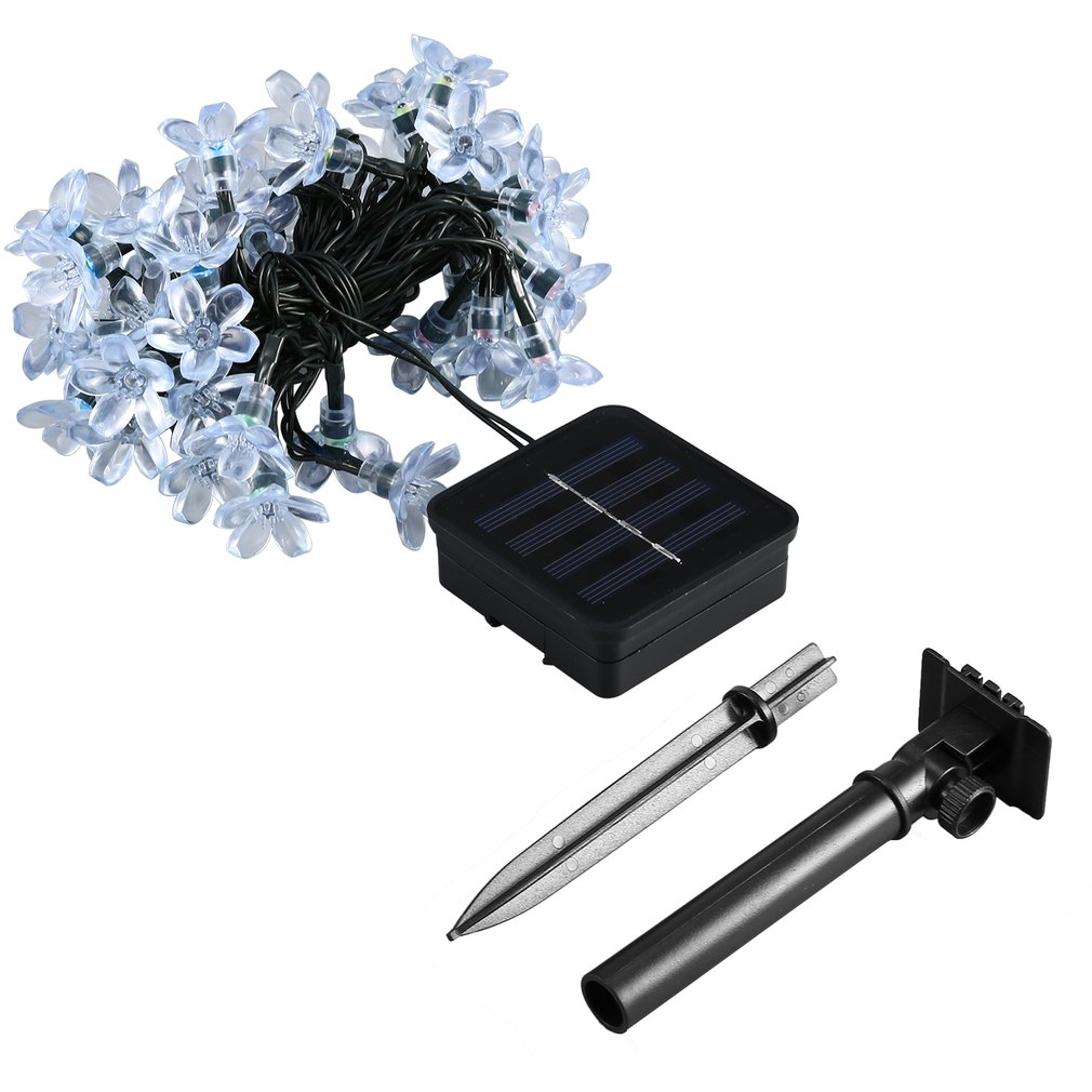 Click here to buy 50 LED Solar String Lights with Solar Panel Waterproof Fairy Light String for Outdoor Christmas Home Party Bedroom Decor.